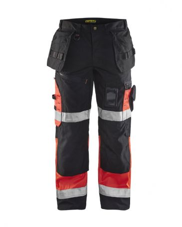Blaklader 1508 High Visibility Trousers X1500 (Black/Red)